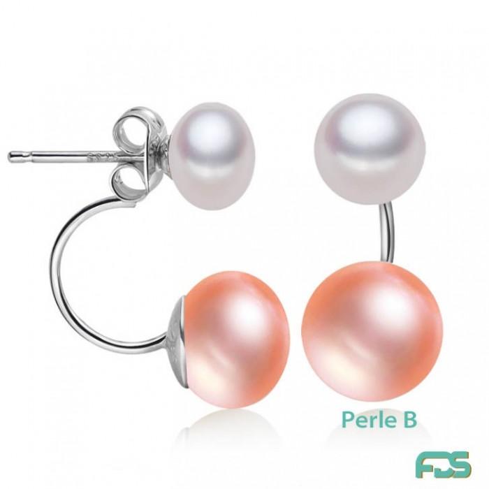 Boucles d'oreilles DUO Argent & Perles