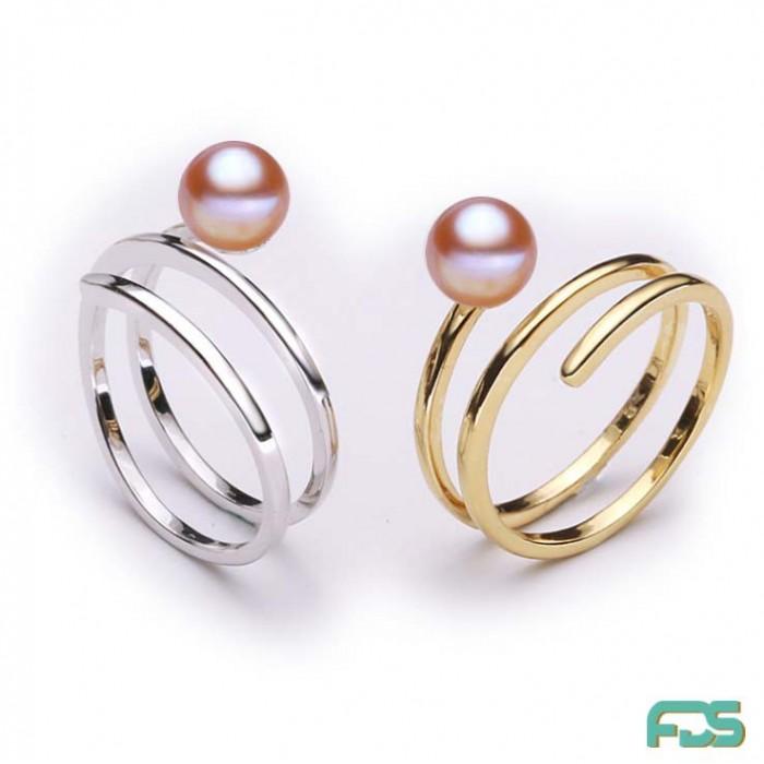 Bague Spirale Argent & Perle