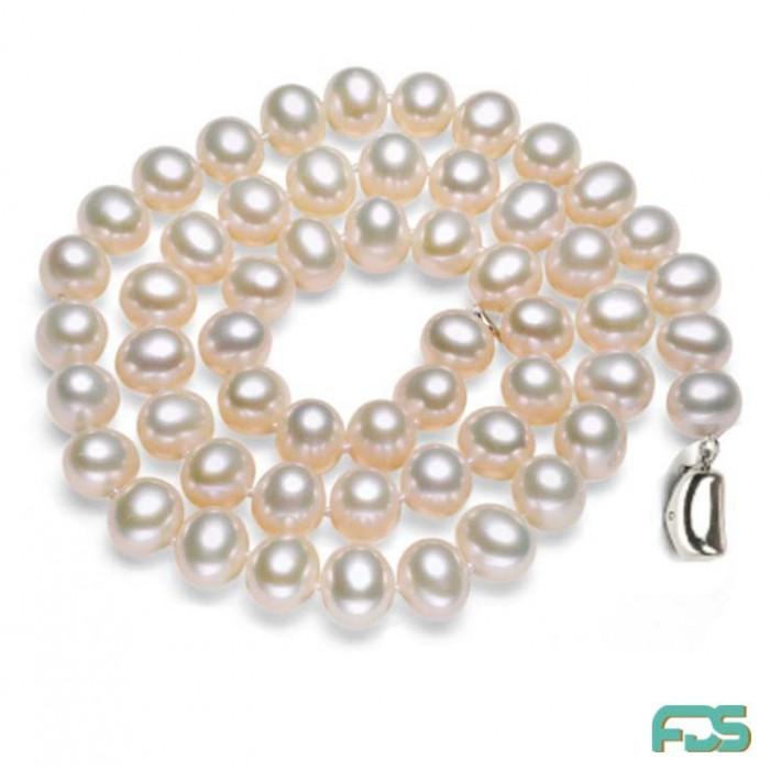 Collier « Fly »Perles d'Eau Douce rondes & fermoir Argent