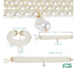 Collier DUCHESSE Perles Fermoir Argent & Pendentif Perle baroque