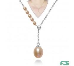 Collier chaîne VICTORIA Perles d'Eau Douce  & Argent