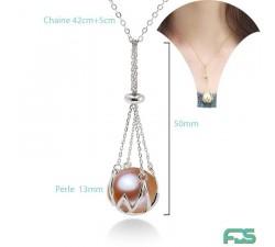 Collier chaîne NACELLE Perle d'Eau Douce ronde & Fermoir Argent