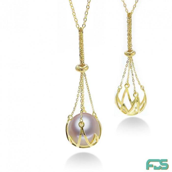 Collier chaîne NACELLE Perle d'Eau Douce ronde & Argent