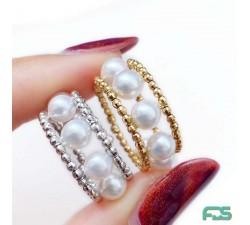 Bague 2 cerceaux argent & Perles de Culture rondes