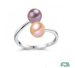 Bague anneau Argent 925 rhodié ouvert & Perles de Culture rondes
