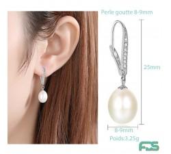 Boucles d'oreilles Argent dormeuses MARQUISE Zirconiums  &  Perles