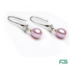 Boucles d'oreilles Argent crochets longs CLOCHETTES Zirconiums &  Perles de Culture