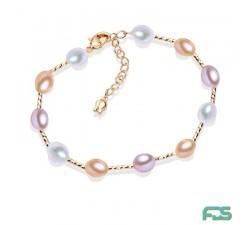 Bracelet  Perles d'Eau Douce  gouttes & Fermoir Argent